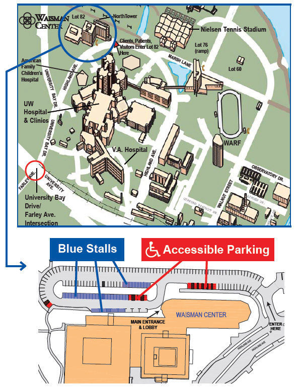 Map of Waisman Center and parking lot